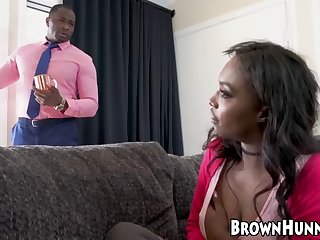 black babe wears choker while riding bbc like a slut
