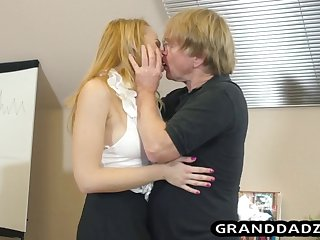 young secretary asks grandpa kiss feet and fuck her hard