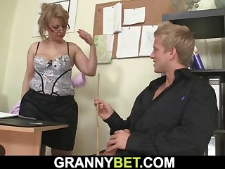 blonde office lady in white stockings rides his big rod