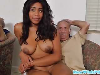 young busty black nurse rides grandpa cock