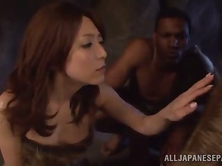 asian hottie sucks on a big black cock until it cums in her mouth